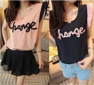 Women's fresh small butterfly sleeve chiffon shirt female sleeveless top sweet gentle elegant shirt