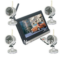 DHL 2.4GHz  CMOS 7inch Digital Color TFT LCD Wireless CCTV Security Camera Video Systems 15Meters Night Vision  Whloesale