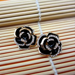 European And Unite States Hot Sale Big Rhinestones Flower Oil Dril Earrings Studs For Generous Women Fashion Bridal Jewelry WY(China (Mainland))
