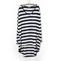 5-6xl plus size women striped t-shirts/female fashion designer plus long/2014