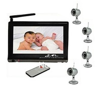 Free shipping 2.4GHz 7inch Digital Color TFT LCD Wireless CCTV Security Camera Video Systems