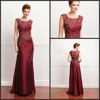 Mother Of  Bride Dresses 2013 Fashion Burgundy scoop lace applique taffeta fabric long elegant formal  dress