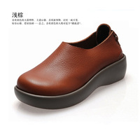 [Factory outlets] ultra-comfortable leather flat-bottomed single shoes shoes leisure shoes European and American round head flat