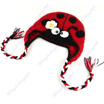 Free Shipping Cute Ladybug Style Baby Children Toddler Crochet Knit Earflap Cap Ear Hat