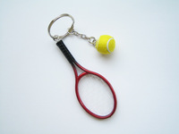Classic tennis racket ball key chain