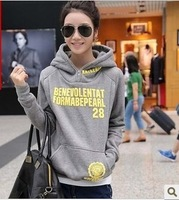 2013 spring and autumn letter print with a hood long-sleeve pullover sweater thickening fleece sweatshirt female set