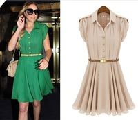 Free Shipping 2013 summer new lapel single-breasted tunic Flouncing dress