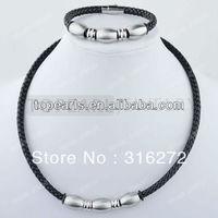 Topearl Jewelry Polish Stainless Steel Black Leather Set, Necklace & Bracelet SSJ109