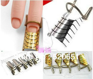 FreeShipping Reusable Silver/Gold UV GEL Nail Form / Nail Extension Support 5Set/Lot
