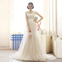 Dora wedding . double shoulder strap lace short trailing slim fish tail wedding dress