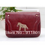 Free shipping women PU leather fashion pony handbags candy color bag shoulder messenger bags brand designer handbag wholesale