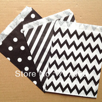 $100 Above Free DHL Shipping 600pcs black stripe/polka dot/chevron party favor bags paper, treat bags, paper bags