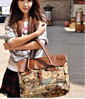 2013 arrival lady handbag, leather shoulderbag woman,Teddy bear cotton corduroy clamshell commuter bag  ,1pce wholesale.TB-050