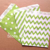 $100 Above Free DHL Shipping 600pcs lime green stripe/polka dot/chevron party favor bags paper, treat bags, paper bags