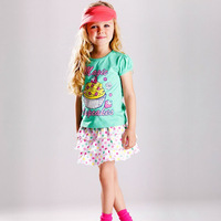 Wholesale!!2013 summer New Girls Cake t-shirt +dot dress 2pieces kid wear  Free shipping 5set/lot  Yc 8989