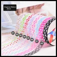 Free Shipping 1'' (25mm) mixed 8 colors set of Organza ribbon printed with dots 16 yards/lot, sheer ribbon DIY accessories