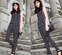 Women's Dot Pattern Fashion Sleeveless Vest Harem Jumpsuit Romper free shipping 13403