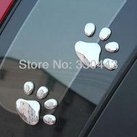 FREE SHIPPING ! 1PAIR 3D Metallic Sense dog footprints Car Stickers Cute Car Decoration Sticker