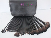 Big Discount ! 32pcs Cosmetic Facial Make up Brush Kit Makeup Brushes Tools Set + Black Leather Case, free shipping by DHL/EMS