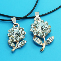 Min Order 12$ high quality,2013 new arrival,crystal flower 2 in 1 necklace,fashion necklaces,leather chain XL0223