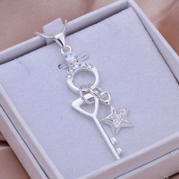 New arrivals 925 sterling silver plated top quality women elegant key star pendant necklace fashion jewelry P325