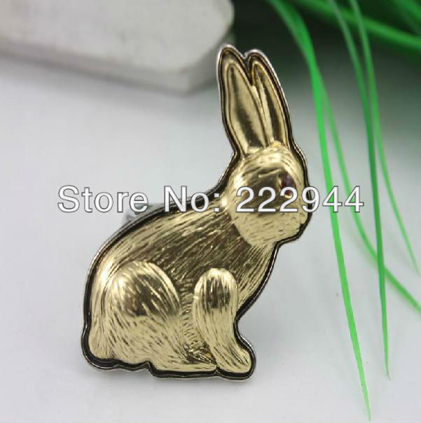 Latest hot selling vivid cute gold color plated rabbit finger ring free shipping(China (Mainland))
