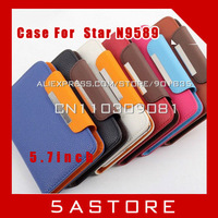 FREE SHIPPING 5.7 inch Leather Case For   Star N9589 quad core  MTK6589   Leather Case