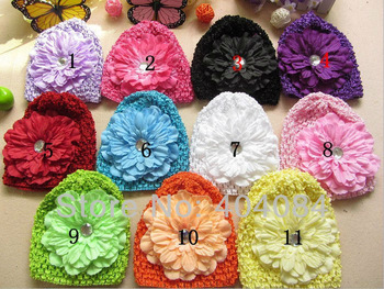 NEW Cute Baby waffle Stretch Crochet Hats Peony Flowers Clips Baby Crochet Hats Caps 30pcs/lot