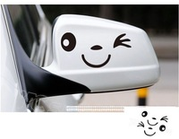 3 Colors Smile Smily Face Car Decal Sticker Smily  Rearview mirror Car Accessories Reflective 1pair