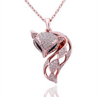 New arrival 18k rose gold plated rhinestone fashion fox pendant necklace with top quality Austrian crystal jewelry N524