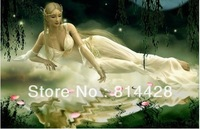 Free shipping Uncompleted DIY The cloud fairy Counted Cross Stitch kit with 11CT linen cloth, cotton thread