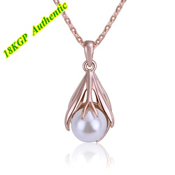 Free Shipping Magic Jewelry Fashion Fresh Water Pearl 18K Gold Plated Pendant Necklace With Zircon Nickle Free Wholesale(China (Mainland))