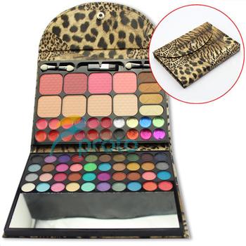 Professional Makeup Set 52 Color Eyeshadow+12 Color Lipstick+4 Color Blusher+4 Color Concealor with Leopard Case SKU:M0221