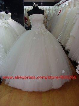2012 Custom Made Tulle White Ball Gown Flower Floor Length Wedding Dress/Bridal Gown SL-3719