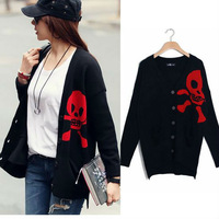 2013 New Women Casual Skull Cardigan Sweater Knit Outerwear Coat Knitwear Size & Color Customization Mixed Wholesale K318