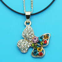 Min Order 12$ high quality,2013 new arrival,colorful rhinestone butterfly necklace,fashion necklaces,double chain XL0245
