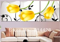 Free shipping Uncompleted DIY Yellow tulips triptych Counted Cross Stitch kit with 11CT linen cloth, cotton thread