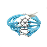 Retro Silver Infinity Rudder Anchor charms leather Suede Wrap bracelet   free shipping  B2-073