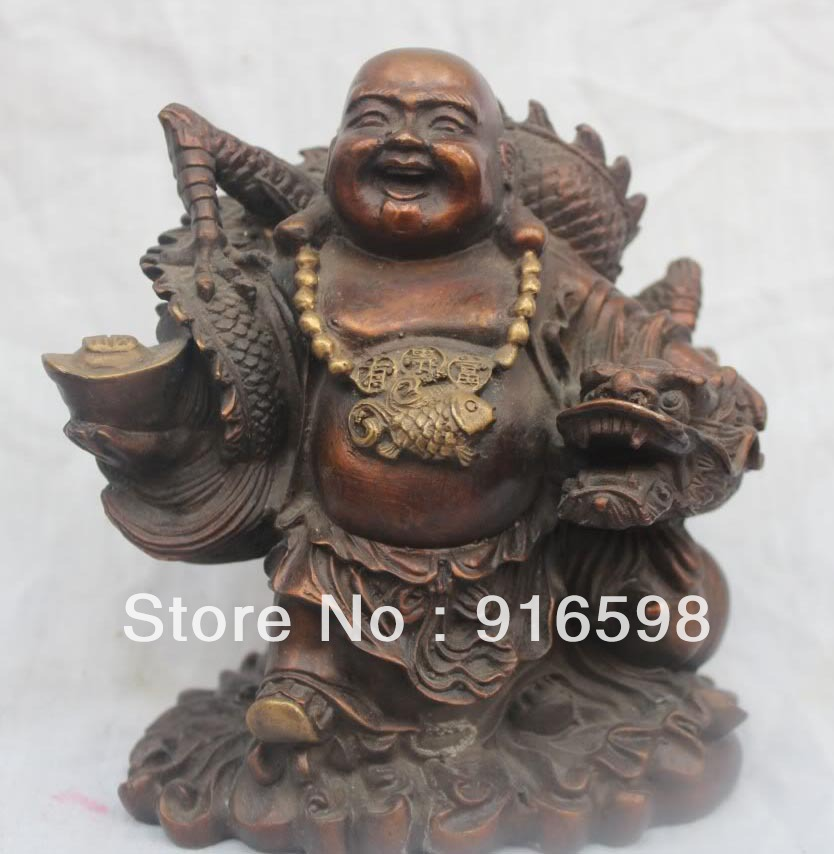 Lucky China Chinese Bronze Happy Laugh Maitreya Yuanbao Buddha On Dragon Statue YYY20(China (Mainland))