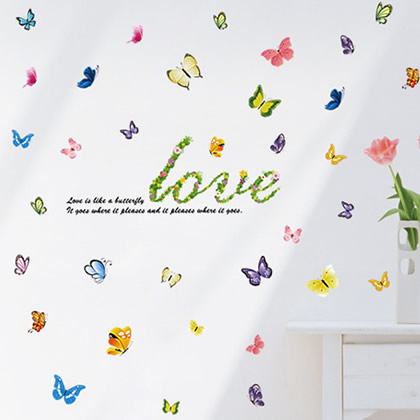 3 PIECES for Free Shipping Wall stickers butterfly restaurant sofa romantic tv wall stickers(China (Mainland))