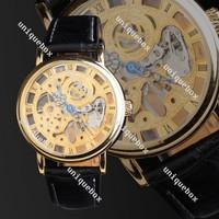 2013 New Fashion Roman Men Black Band Golden Dial Skeleton Mechanical Wristwatch