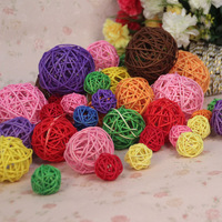 8cm Sepak takraw multicolour spherule rattan small decoration hand props accessories home decoration
