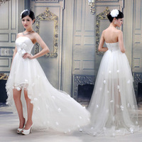 Hot Sale 2014 New Summer Sexy Women's White Soft Yarn low-high Paragraph Formal Evening Dress Costumes Cheap Party Dresses Gowns