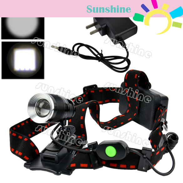 5pcs/Lot hot selling 1600Lm CREE XML T6 LED Adjustable Headlamp Charger Adapter+Rechargeable Headlight Free Shipping TK0239(China (Mainland))