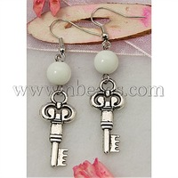 Closeout Fashion Earrings,  with Tibetan Style Pendant,  Glass Beads and Brass Earring Hook,  White,  57mm long