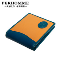 Perhomme short design cowhide wallet candy color male genuine leather short wallet design genuine leather wallet