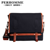 Perhomme man bag fashion canvas shoulder bag messenger bag casual all-match messenger bag multicolor