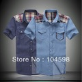 Free Shipping 2013 Mens fashion jean tops casual plus size short sleeve slim fit denim shirts,TM620