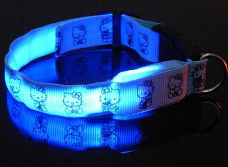 5pcs/lot Hello Kitty/Mickey Nylon Webbing Flashing LED dog collar / Wholesale pet collar Free Shipping(China (Mainland))