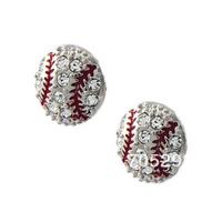 Small Silvertone Crystal Baseball Post Earrings Fashion Jewelry